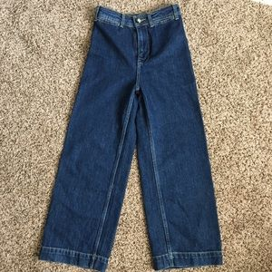 NWOT Free People high waisted, wide leg blue jeans